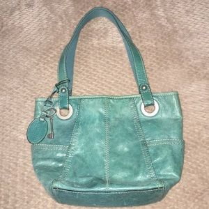 Fossil turquoise leather shoulder bag